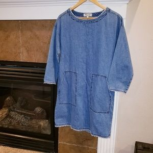 MADEWELL TOSS ON DENIM FRAYED EDGE BOATNECK DRESS
